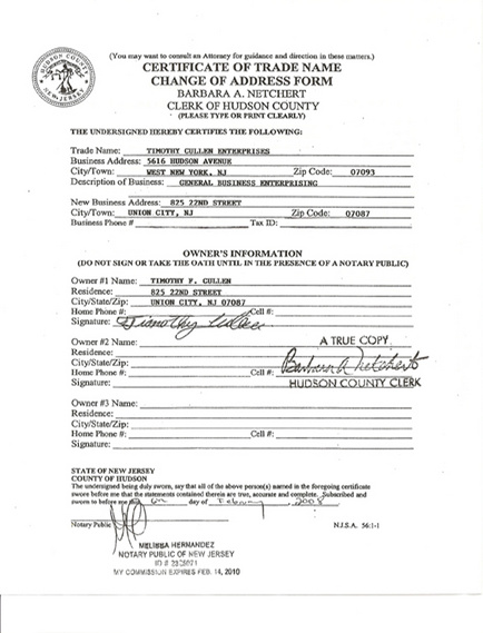 Nj Certificate Of Authority Address Change - Best Design Sertificate ...